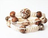 African agate stone triple bracelet