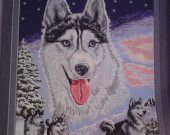 THIS  BEAUTIFUL SNOW HUSKY and FRIENDS is a beautiful completed hand made Needlepoint picture, Bulgarian Goblin, Unframe