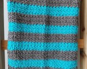 Blue and Gray Crochet Blanket