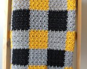 Black and Gold Crochet Blanket