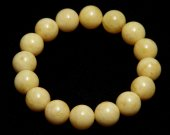 Bracelet From Natural Baltic Amber Of Honey Color Round Shape Pretty Design Beads 10 mm