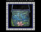 Dragonflies and Lily Silk Handcrafted Hand painted