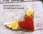red heart brooch, brooch making, how to make brooch, pdf brooch, photo tutorial, beadwork tutorial