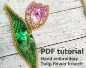 Step by step pdf, beadwork tutorial, brooch tutorial, embroidery brooch, diy brooch, bead embroidery kit, beadwork patte
