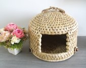 Pet house cat cave 14 inch gifts for home straw woven pet bed pet furniture cat bed