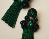 Soutache  earrings with tassels, handmade, green Soutache  earrings