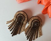 Soutache earrings and rhinestone chains, handmade earrings, rhinestone earrings