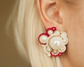 Soutache earrings round with ceramic pearls, handmade, natural materials, white red earrings