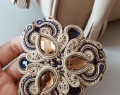 Soutache brooch, handmade, beige brooch, volumetric brooch, Glass rhinestones, crystal, beads