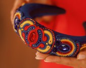 Soutache headband blue, red, yellow, for holidays and every day, handmade