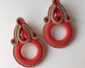 Soutache earrings ring earrings, round earrings, bright earrings, handmade earrings, rhinestone earrings