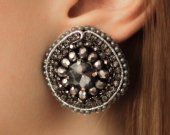 Soutache earrings round shape of crystals and crystal, handmade, natural materials