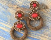 Soutache earrings ring earrings,  handmade earrings, rhinestone earrings