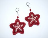 Star earrings with white snowflake stitched on garnet felt and garnet crystal and star beads
