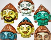 Papier Mache Mask of Pandav Family with their Wife Draupadi