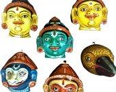 Papier Mache Mask of Ramayan Family