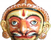 Papier Mache Yellow Mask of Hanuman
