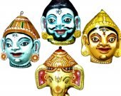 Papier Mache Mask of Ganesh Family