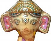 Papier Mache Mask of Lord Ganesha (Orange)