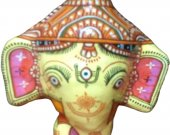 Papier Mache Mask of Lord Ganesha (Yellow)