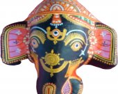 Papier Mache Mask of Lord Ganesha (Black)