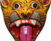Papier Mache Mask Of Tiger (Yellow)
