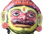Papier Mache Pink Mask of Hanuman