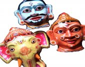 Wearable Papier Mache Mask of Ganesh family
