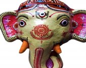 Wearable Papier Mache Mask of Lord Ganesha