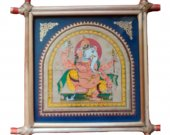 Pattachitra Wall Hanging of Lord Ganesha (Well Framed)