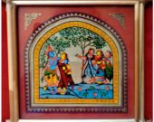 Pattachitra Wall Hanging of Rasa Leela (Well Framed)