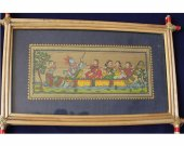 Pattachitra Wall Hanging of Nouka Vihar (Well Framed)