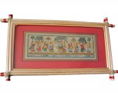 Red Pattachitra Wall Hanging of Rasa Leela (Well Framed)