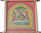 Light Red Pattachitra Wall Hanging of Rasa Leela (Well Framed)