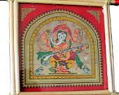 Maroon Pattachitra Wall Hanging of Lord Ganesha (Well Framed)