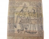 Black and White Palm Leaf Etching Wall Hanging of Radha Krishna (Light Brown)