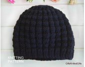 KNITTING PATTERN Hat for Men, Hand Knit Hat Pattern, Beginner Knit Hat Pattern, Hat Knitting Patterns