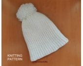 KNITTING PATTERN Hat, Knit Hat Pattern, Easy Knitting Patterns, Knit Hat with pom pom
