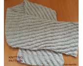 KNITTING PATTERN Scarf, Beginner Knit Scarf Pattern, Hand Knit Scarf for Woman, Hand Knit Scarf for Man