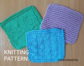 KNITTING PATTERN Coasters in 3 designs, Knitted Coaster Pattern, Housewarming Gift, Beginner Knit Pattern
