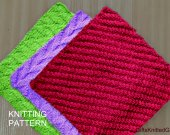 Knitted Dishcloth Pattern Combo PDF File,Knitting Pattern Dishcloths in 3 designs, Beginner K