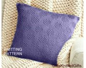 KNITTING PATTERN Pillow Covers 18x18, Easy Knit Cushion pattern, Knit Pillow Pattern, Knitted Decor