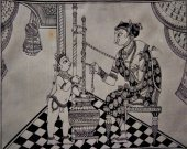 A Pattachitra Black and White Painting of Young Krishna
