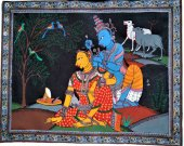 A Pattachitra Painting of  Lord Krishna and Radha