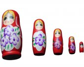 A Handcrafted Well Furnished Matryoshka Dolls Family (Red)