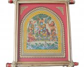 Pattachitra Wall Hanging of Radha & Krishna (Well Framed)