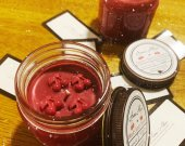 Black Cherry Merlot 8oz Soy Candle w/ Cherries Hand Crafted Wax Melts. Mason Jar with Lid