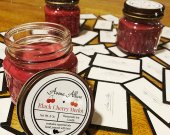 Black Cherry Merlot 8oz Soy Candle. Mason Jar with Lid.