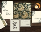 Sea Green Matte Paisley Themed Muslim Wedding Invitation