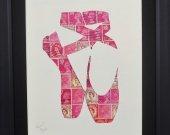"""Vintage Postage Stamp Art - """"Ballet Slippers"""""""